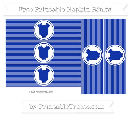 Free Egyptian Blue Horizontal Striped Baby Onesie Napkin Rings