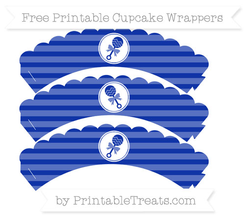 Free Egyptian Blue Horizontal Striped Baby Rattle Scalloped Cupcake Wrappers