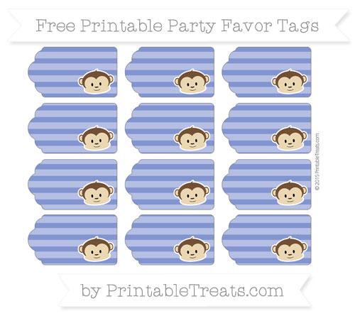 Free Egyptian Blue Horizontal Striped Boy Monkey Party Favor Tags