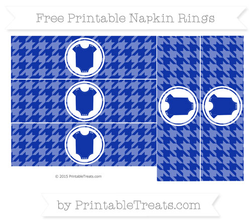 Free Egyptian Blue Houndstooth Pattern Baby Onesie Napkin Rings