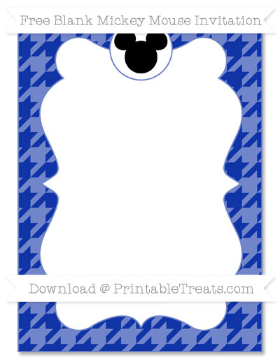 Free Egyptian Blue Houndstooth Pattern Blank Mickey Mouse Invitation