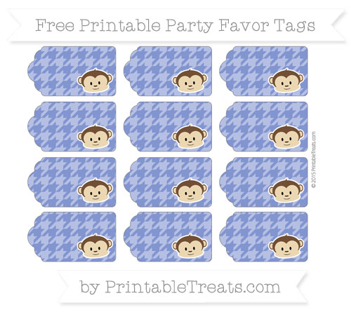 Free Egyptian Blue Houndstooth Pattern Boy Monkey Party Favor Tags