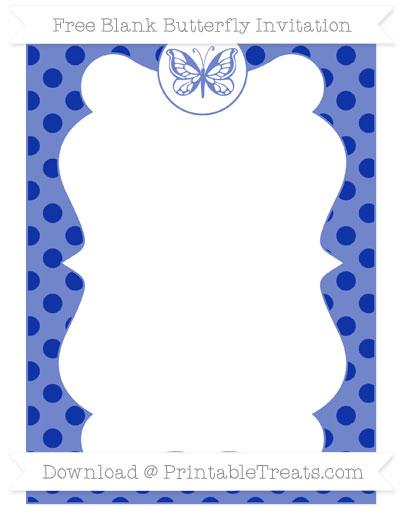 Free Egyptian Blue Polka Dot Blank Butterfly Invitation