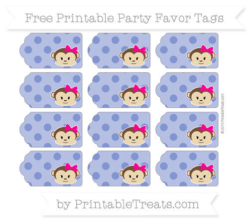 Free Egyptian Blue Polka Dot Girl Monkey Party Favor Tags