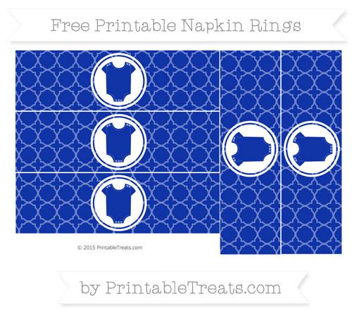 Free Egyptian Blue Quatrefoil Pattern Baby Onesie Napkin Rings