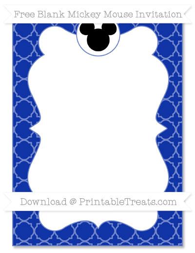 Free Egyptian Blue Quatrefoil Pattern Blank Mickey Mouse Invitation