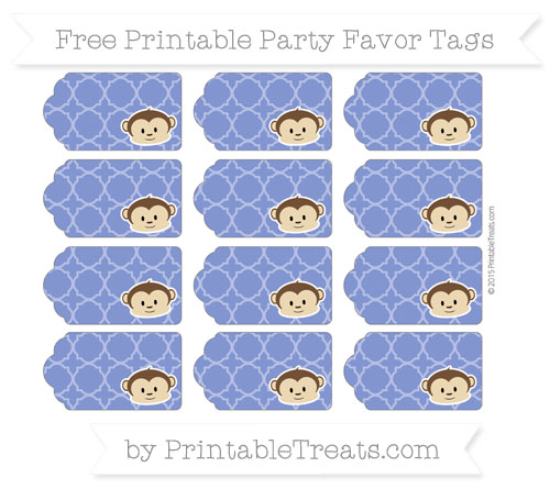Free Egyptian Blue Quatrefoil Pattern Boy Monkey Party Favor Tags