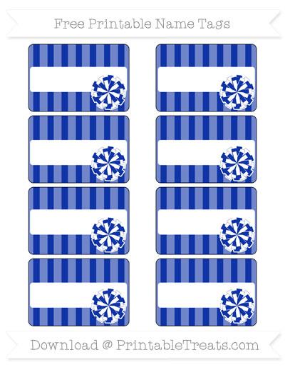 Free Egyptian Blue Striped Cheer Pom Pom Tags