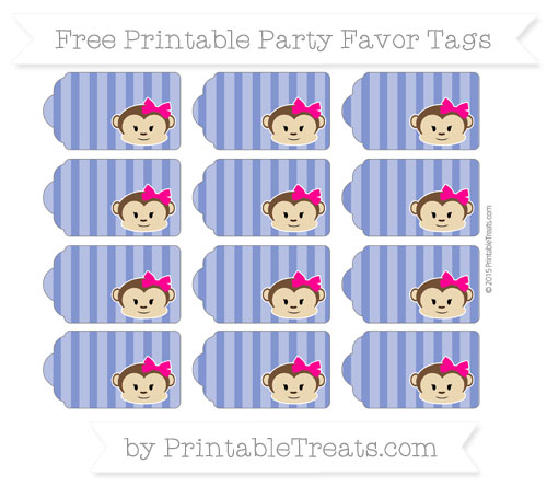 Free Egyptian Blue Striped Girl Monkey Party Favor Tags