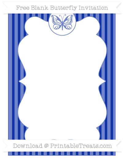 Free Egyptian Blue Thin Striped Pattern Blank Butterfly Invitation
