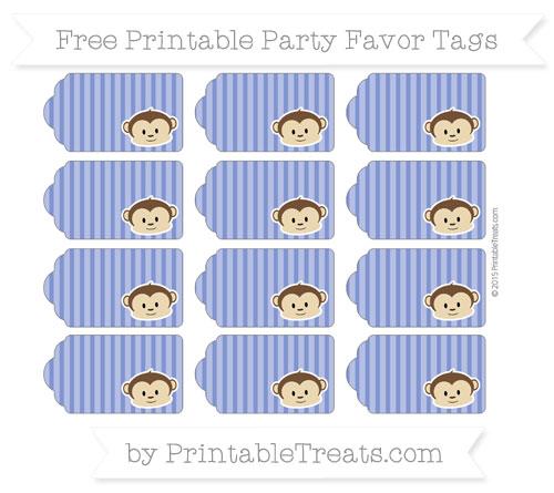 Free Egyptian Blue Thin Striped Pattern Boy Monkey Party Favor Tags