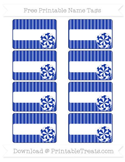Free Egyptian Blue Thin Striped Pattern Cheer Pom Pom Tags