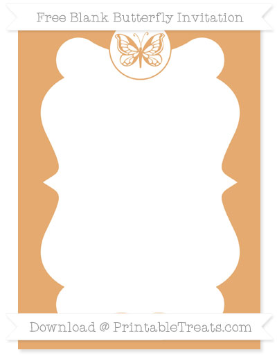 Free Fawn Blank Butterfly Invitation