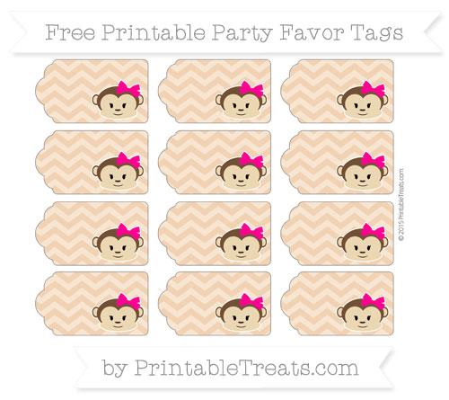 Free Fawn Chevron Girl Monkey Party Favor Tags