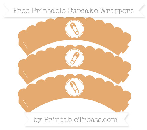 Free Fawn Diaper Pin Scalloped Cupcake Wrappers