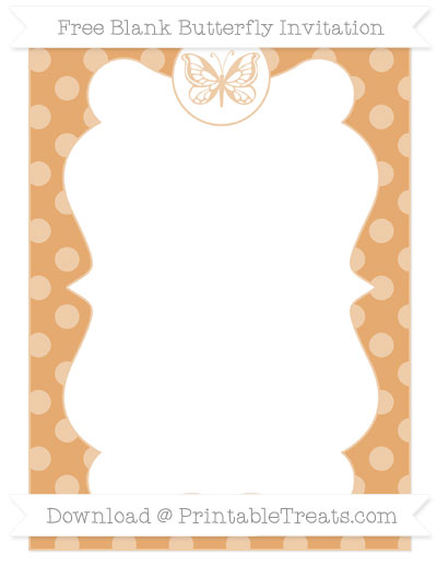Free Fawn Dotted Pattern Blank Butterfly Invitation