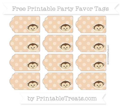Free Fawn Dotted Pattern Boy Monkey Party Favor Tags