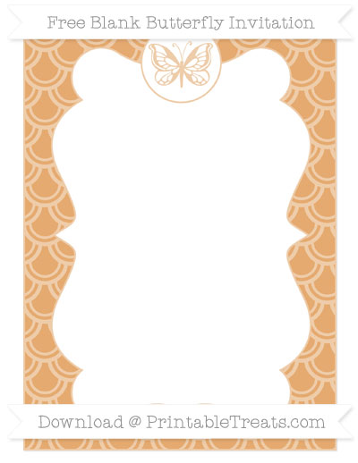 Free Fawn Fish Scale Pattern Blank Butterfly Invitation