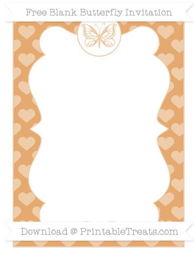 Free Fawn Heart Pattern Blank Butterfly Invitation