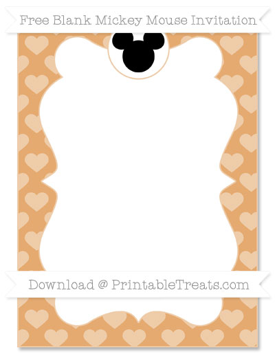 Free Fawn Heart Pattern Blank Mickey Mouse Invitation