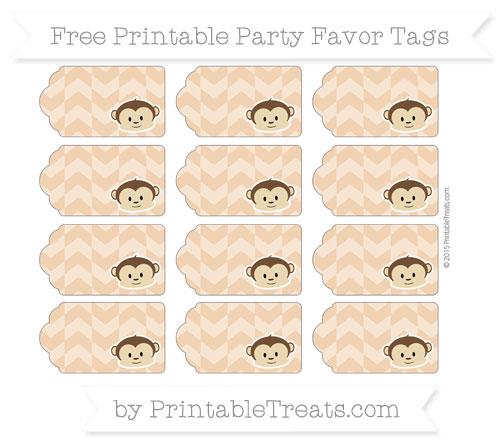 Free Fawn Herringbone Pattern Boy Monkey Party Favor Tags