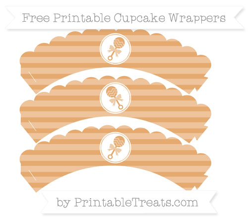 Free Fawn Horizontal Striped Baby Rattle Scalloped Cupcake Wrappers