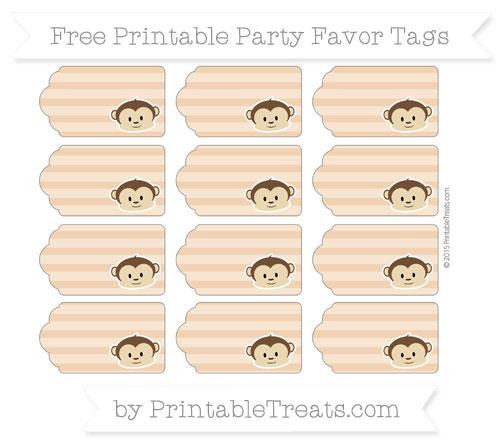 Free Fawn Horizontal Striped Boy Monkey Party Favor Tags