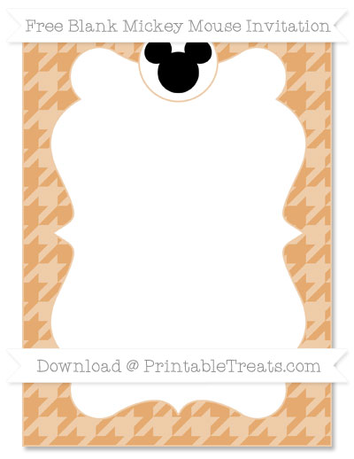 Free Fawn Houndstooth Pattern Blank Mickey Mouse Invitation