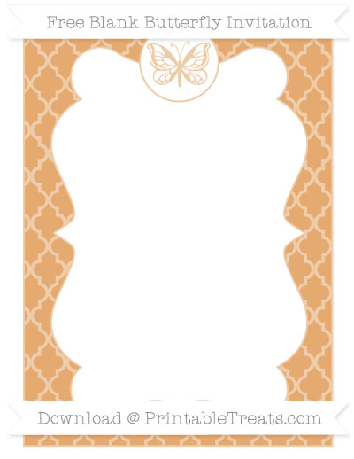 Free Fawn Moroccan Tile Blank Butterfly Invitation