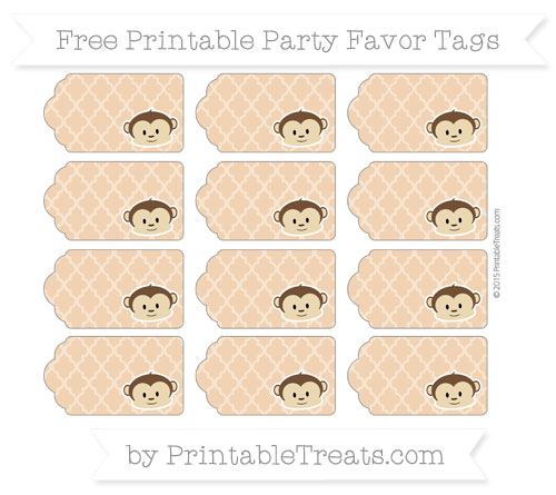 Free Fawn Moroccan Tile Boy Monkey Party Favor Tags