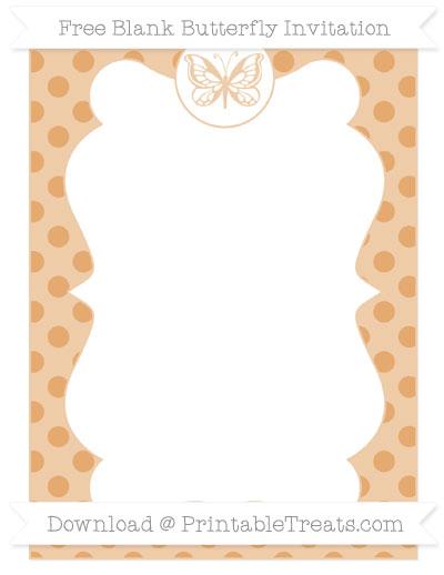 Free Fawn Polka Dot Blank Butterfly Invitation