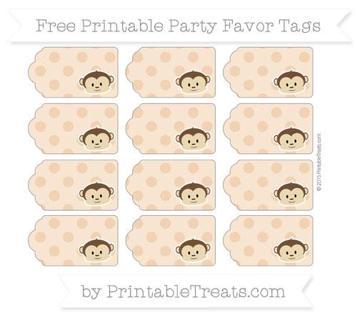 Free Fawn Polka Dot Boy Monkey Party Favor Tags