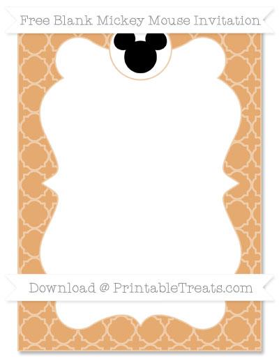 Free Fawn Quatrefoil Pattern Blank Mickey Mouse Invitation
