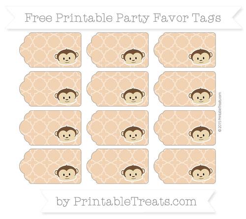 Free Fawn Quatrefoil Pattern Boy Monkey Party Favor Tags