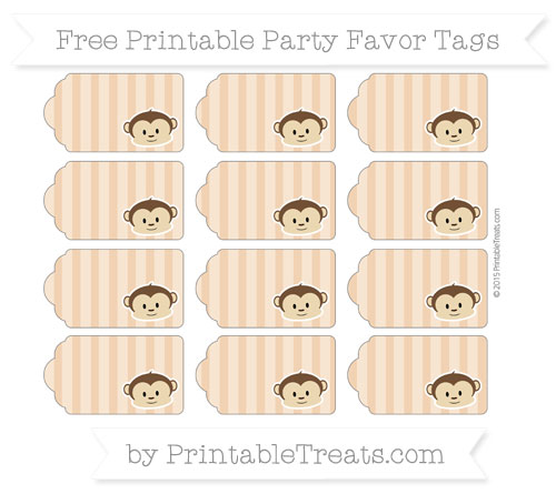 Free Fawn Striped Boy Monkey Party Favor Tags