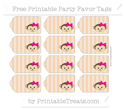 Free Fawn Striped Girl Monkey Party Favor Tags