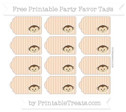 Free Fawn Thin Striped Pattern Boy Monkey Party Favor Tags