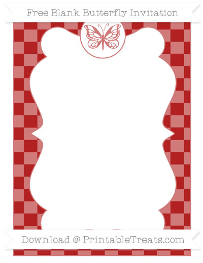 Free Fire Brick Red Checker Pattern Blank Butterfly Invitation