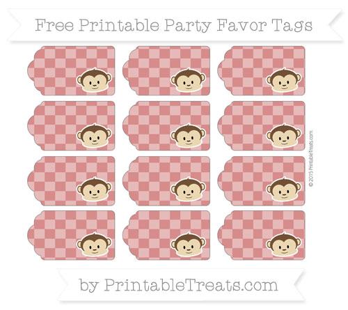 Free Fire Brick Red Checker Pattern Boy Monkey Party Favor Tags