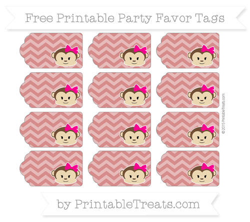 Free Fire Brick Red Chevron Girl Monkey Party Favor Tags