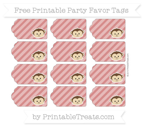Free Fire Brick Red Diagonal Striped Boy Monkey Party Favor Tags
