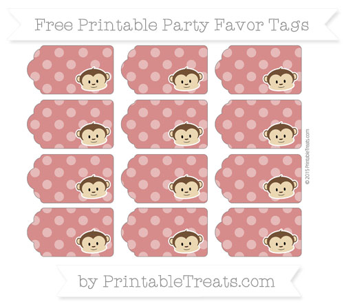 Free Fire Brick Red Dotted Pattern Boy Monkey Party Favor Tags