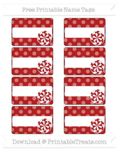 Free Fire Brick Red Dotted Pattern Cheer Pom Pom Tags