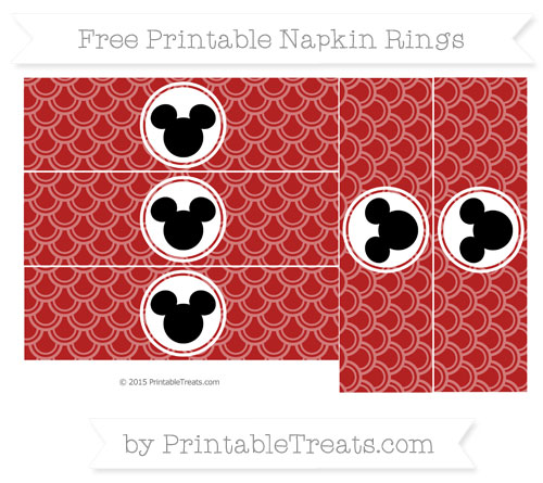 Free Fire Brick Red Fish Scale Pattern Mickey Mouse Napkin Rings