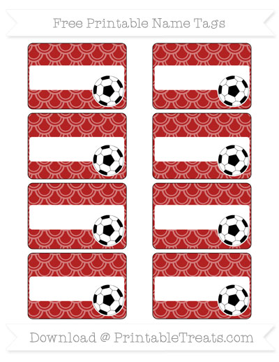 Free Fire Brick Red Fish Scale Pattern Soccer Name Tags