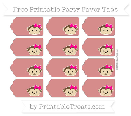 Free Fire Brick Red Girl Monkey Party Favor Tags