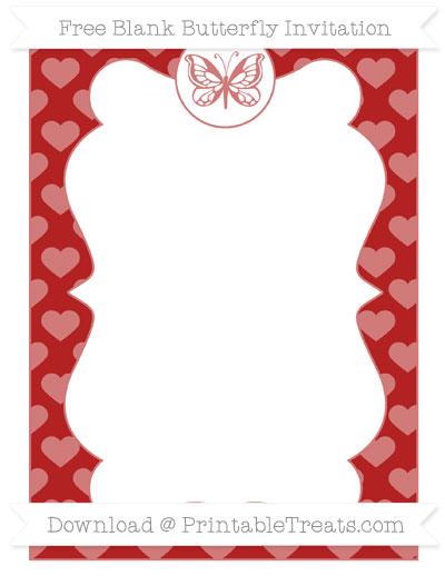 Free Fire Brick Red Heart Pattern Blank Butterfly Invitation