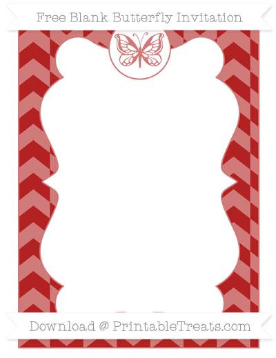 Free Fire Brick Red Herringbone Pattern Blank Butterfly Invitation