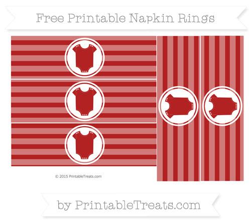 Free Fire Brick Red Horizontal Striped Baby Onesie Napkin Rings