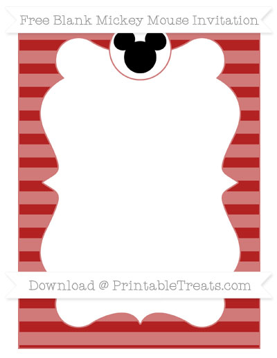 Free Fire Brick Red Horizontal Striped Blank Mickey Mouse Invitation